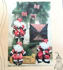 "Christmas Craft Pattern Down Memory lane Spool Santa Ornament 9""  pillow"