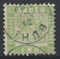 Germany (Baden) - 1868, 1k Pale Green stamp - F/U - SG 39