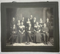 VTG Victorian Big Family Picture Matching Outfits 1890s Studio Pose Photo