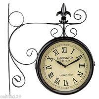 Roman Numeral Double Sided Train Station Wall Clock Ebay