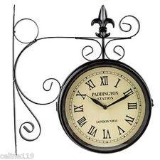Paddington Station Railroad Wall Clock 2 Faced Double Sided Home Office Decor
