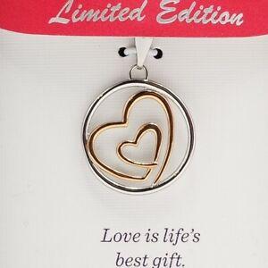 Hallmark Stainless Steel Pink Plate Heart Necklace