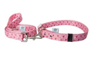 Large Martingale Pink Heart Dog Collar And Leash Set, Alternative, Valentine's