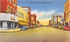 Georgia Ga Postcard Linen VALDOSTA Street Scene Dowlings Furniture Store Cars