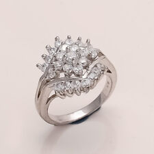Natural Russian White Topaz Ring 925 Sterling Silver Women Fine Wedding Jewelry