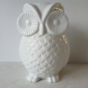 Owl White Ceramic Ornament Figurine Home Decor H 20cm money bank/box no stopper.