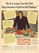 1942 Vintage AD for Jell-O Puddings  Kate Smith Singer Many Recepies  033015