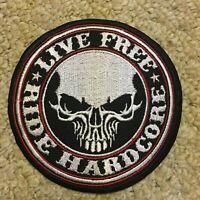 LIVE FREE RIDE HARDCORE BIKER SKULL PATCH EMBROIDERED VEST/JACKET PATCH