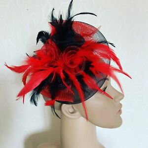 NEW Red Black Feather Fascinator Wedding Ladies Race Day fashion Accessories