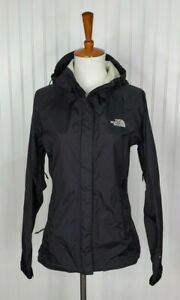 The North Face HyVent Rain Full Zip Up Hooded Black Jacket Womens Size XS