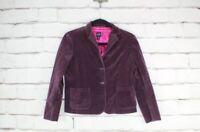 GAP Women's Purple Velvet Career Blazer Jacket Tailored Lined Buttons Size 16