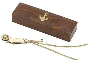 Nautical Brass|Copper Boatswain Whistle Bo'sun Call In Wooden Box