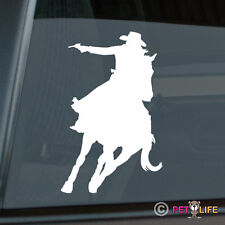 Cowgirl Mounted Shooter Sticker Die Cut Vinyl - equestrian female shooting