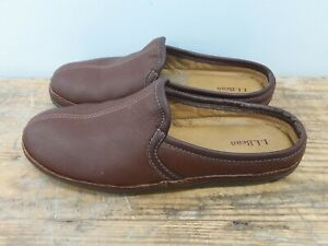 LL Bean Elkhide Slippers Brown Leather Slip On Rubber Sole House Shoes Size 12 M