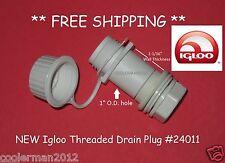 Igloo Cooler # 24011 Threaded Drain Plug Screw Cap Replacement Parts Kit