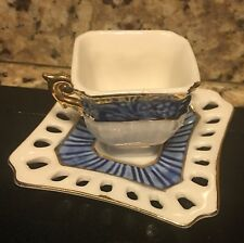 Presentti Italy Gold Collection Fine Porcelain Tiny Teacup and Saucer