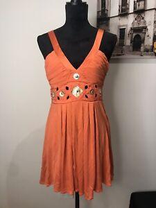 MARCIANO 100% SILK Straps Mini Frill Orange Cocktail Party Dress Size S