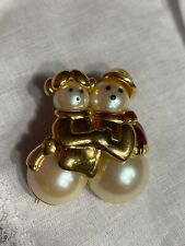 Gold Tone Snowman Couple Brooch Pin Christmas Jewelry Bc-18