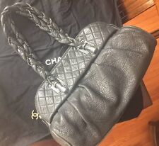 Chanel Black Quilted Distressed Leather Lady Braid Shoulder Bag Boy Classic Flap
