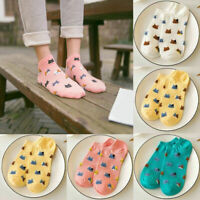 4 Color Fashion Women Sport Casual Cute Cat Ankle High Low Cut Cotton Socks New
