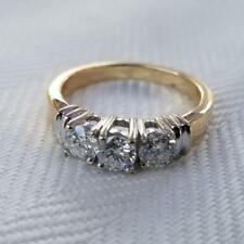 14k Yellow Gold 3 Stone 1.00 Carat Diamond Anniversary Engagement Ring Size 7.25
