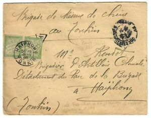 T040 INDOCHINE TONKIN LETTRE FM TAXE COLONIES GENERALES 15c HAIPHONG 1905 RARE