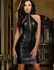 Women Lace Up Front Halter Neck Sleeveless Open Back PU Faux Leather Mini Dress