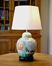 Large oriental table lamp on wooden stand New shade