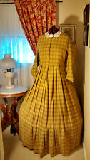 Civil War Reenactment Day Dress Size 24 Gold Cotton Flannel Plaid