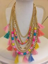 NWOT Multi Color Pastel Rainbow Tassel Bead Chain Layer Necklace