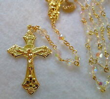 CLEAR AB CRYSTAL ROSARY - 18K GOLD PLATED MADE IN CZECH