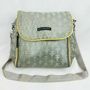 petunia pickle bottom diaper bag boxy backpack gray and yellow baby chic