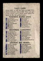 1962 Parkhurst #101 Tally Game Card  G X1502510