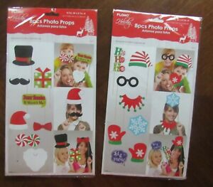 Christmas Photo Booth Props, 16pcs, Attached NO DIY NEEDED, Ships Fast US