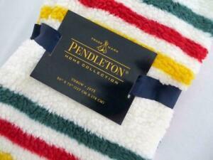 NEW!  Pendleton Sherpa Fleece Glacier Park Ivory Red Green Striped Throw Blanket