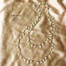Collier Sautoir Perle de Culture d`Eau Douce Long Soirée Mariage Super Cadeau TZ