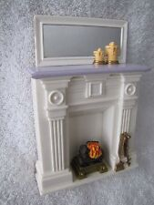FISHER PRICE Loving Family Dollhouse FIREPLACE HEARTH MANTLE Logs Turn Fire Rare