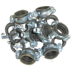 """13 x 3/4"""" Rubber Lined Pipe Clamps Munsen Rings / Brackets for 25-30mm Pipes"""
