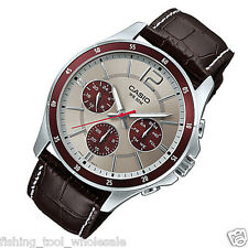 MTP-1374L-7A1  Casio Men's Watches Date Display 50m Leather Band Brand New
