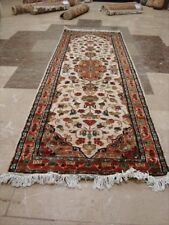 WOW IVORY FLORAL MEDALLION HAND KNOTTED WOOL SILK CARPET RUNNER RUG 6x2 FB-2036