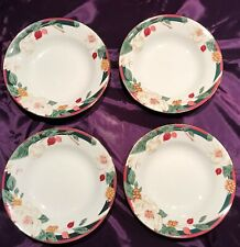"4 Tienshan Fine China Magnolia 8"" Soup Bowl Gold Trim"