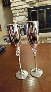 Vintage Silver Plate Toasting Flute Wedding Goblets Made by Things Remembered