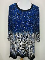Chico's Travelers Size 2 L Blue Black Tan 3/4 Sleeve Knit Top