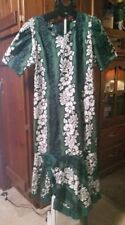 Royal Creations Mu mu Dress Size Xl Made in Hawaii Green&White Floral Great Cond