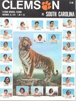 1972 CLEMSON vs SOUTH CAROLINA FOOTBALL PROGRAM