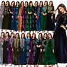 Islamic Women Abaya Velvet Embroidery Long Maxi Dress Jilbab Muslim Kaftan Gown