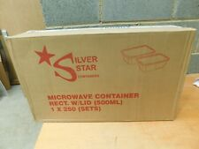 250 x 500ml  Silver Star Clear Plastic Container + Lids Takeaway Microwave