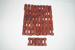 "Wooden LINCOLN LOGS Bulk Parts Lot: 50 Small 1 Notch Round Log Pieces 1.5"" EC"