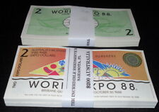 LOT--100 PCS. PARTIALLY-ENGRAVED ABNC AUSTRALIA $2 WORLD EXPO 88 NOTES - AU/UNC!