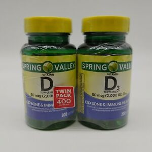 Spring Valley Pack Of 2 Vitamin D3 50 Mcg Bone And Immune Health Supplement